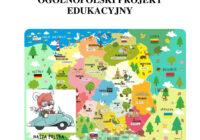 Kolorowa mapa Polski z rysunkami charakteryzującymi regiony kraju: np. kopalnie na Śląsku, Syrenka w Warszawie czy smok wawelski w Krakowie